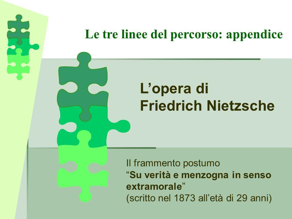 L'opera di Friedrich Nietzsche Le tre linee del percorso: appendice
