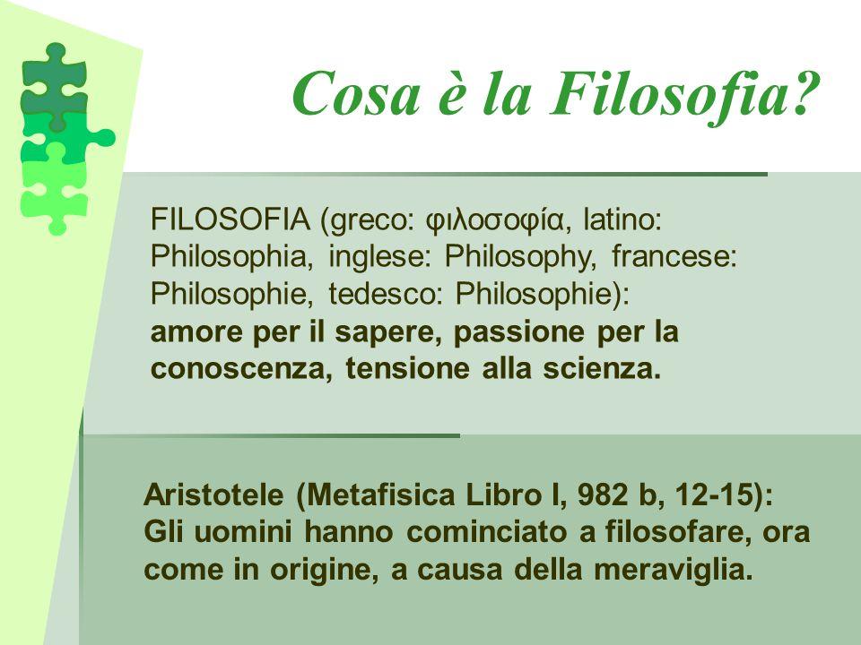 Cosa è la Filosofia FILOSOFIA (greco: φιλοσοφία, latino: Philosophia, inglese: Philosophy, francese: Philosophie, tedesco: Philosophie):