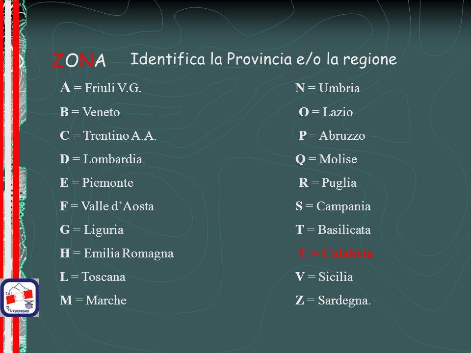 ZONA Identifica la Provincia e/o la regione A = Friuli V.G. N = Umbria