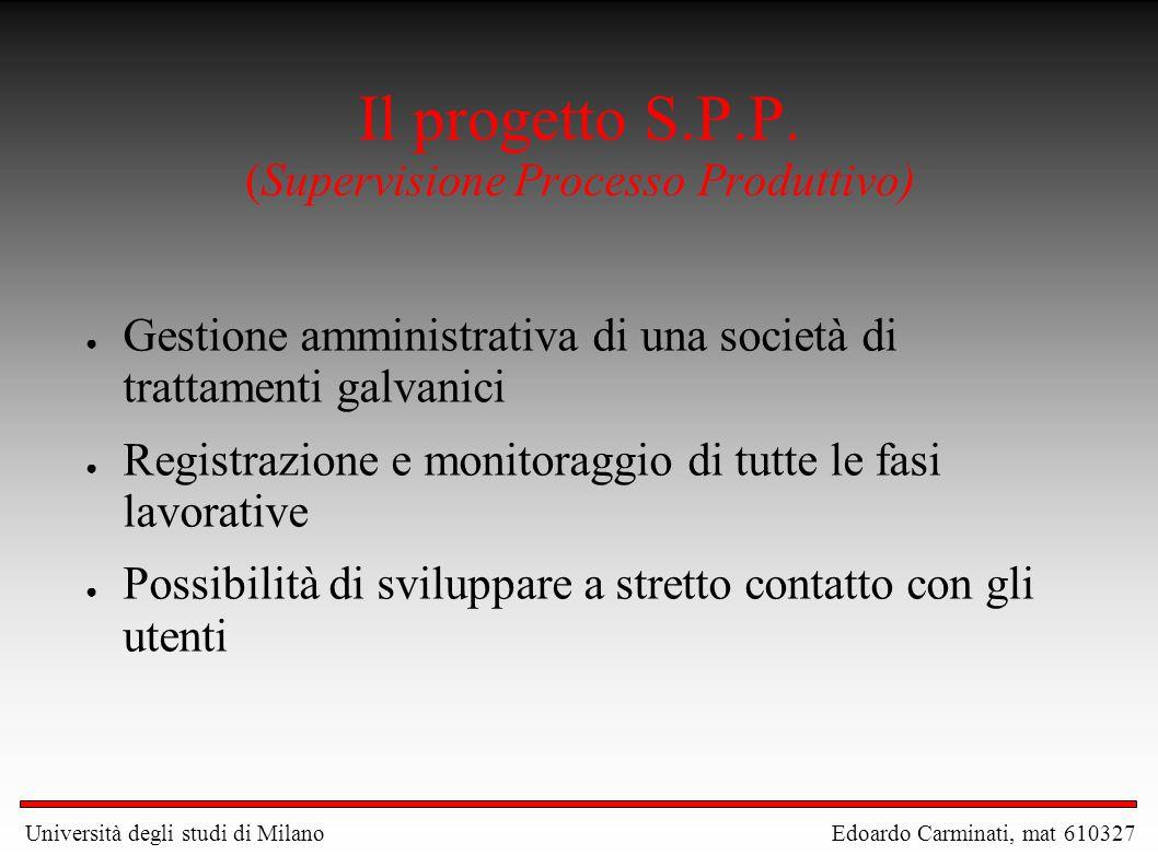 Il progetto S.P.P. (Supervisione Processo Produttivo)