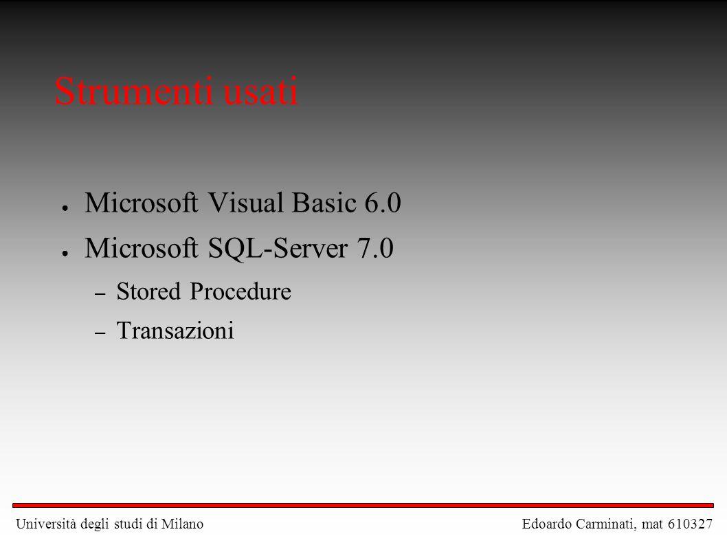 Strumenti usati Microsoft Visual Basic 6.0 Microsoft SQL-Server 7.0