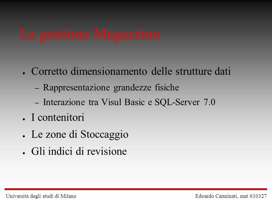 La gestione Magazzino Corretto dimensionamento delle strutture dati