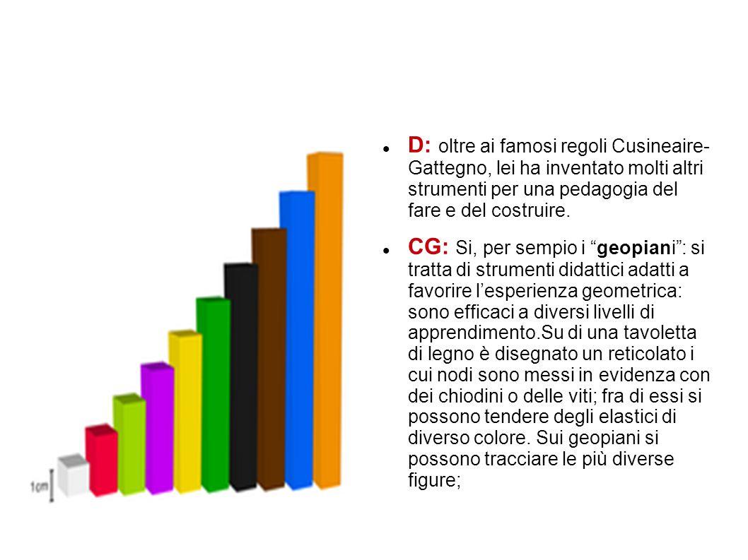 D: oltre ai famosi regoli Cusineaire- Gattegno, lei ha inventato molti altri strumenti per una pedagogia del fare e del costruire.