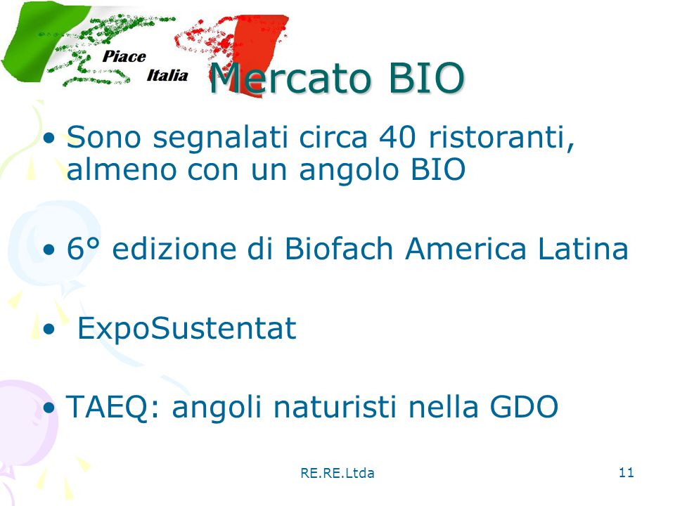 Mercato BIO Sono segnalati circa 40 ristoranti, almeno con un angolo BIO. 6° edizione di Biofach America Latina.