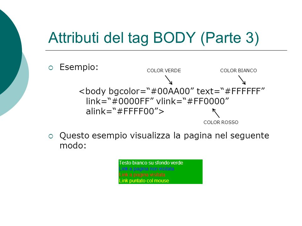 Attributi del tag BODY (Parte 3)
