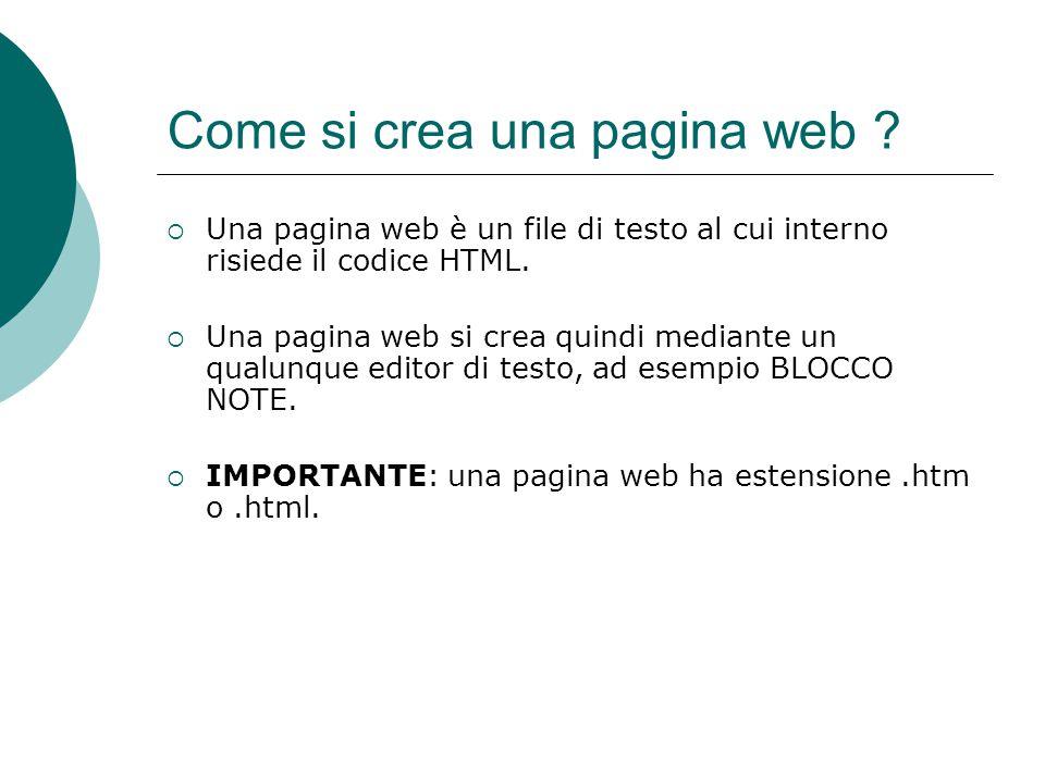 Come si crea una pagina web
