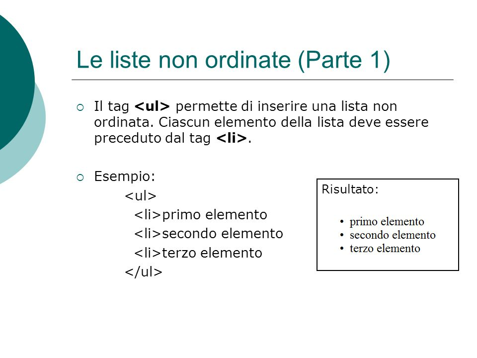 Le liste non ordinate (Parte 1)