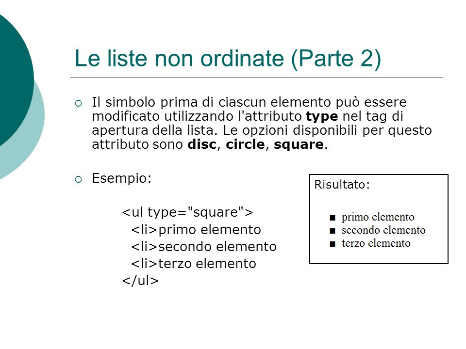 Le liste non ordinate (Parte 2)