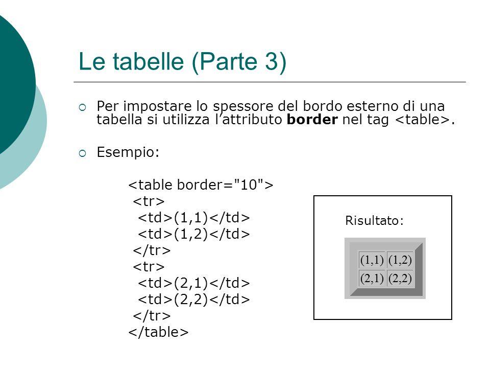 Le tabelle (Parte 3) Per impostare lo spessore del bordo esterno di una tabella si utilizza l'attributo border nel tag <table>.