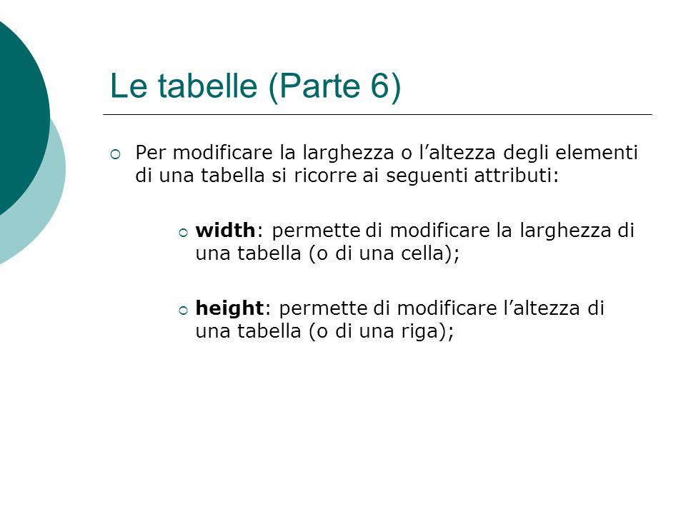 Le tabelle (Parte 6) Per modificare la larghezza o l'altezza degli elementi di una tabella si ricorre ai seguenti attributi: