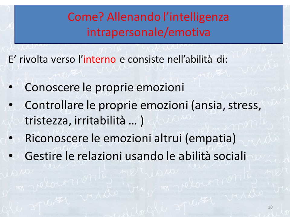 Come Allenando l'intelligenza intrapersonale/emotiva