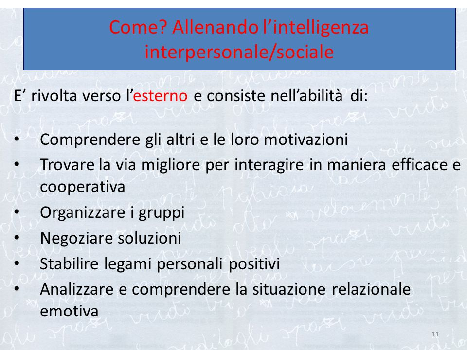 Come Allenando l'intelligenza interpersonale/sociale