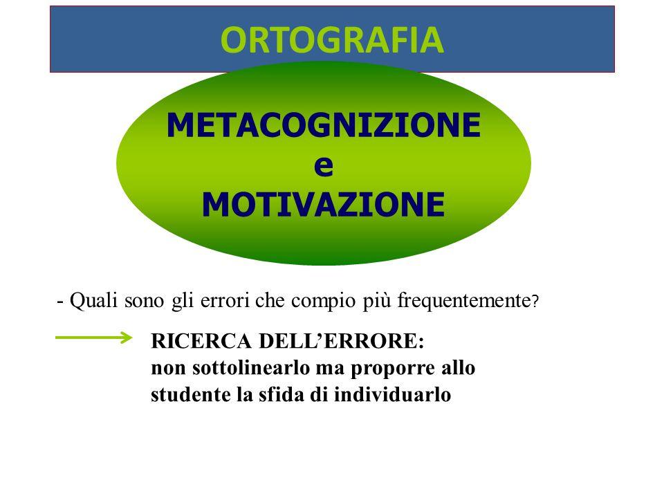 ORTOGRAFIA METACOGNIZIONE e MOTIVAZIONE