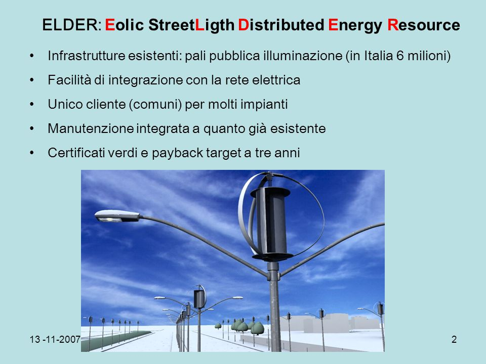 ELDER: Eolic StreetLigth Distributed Energy Resource