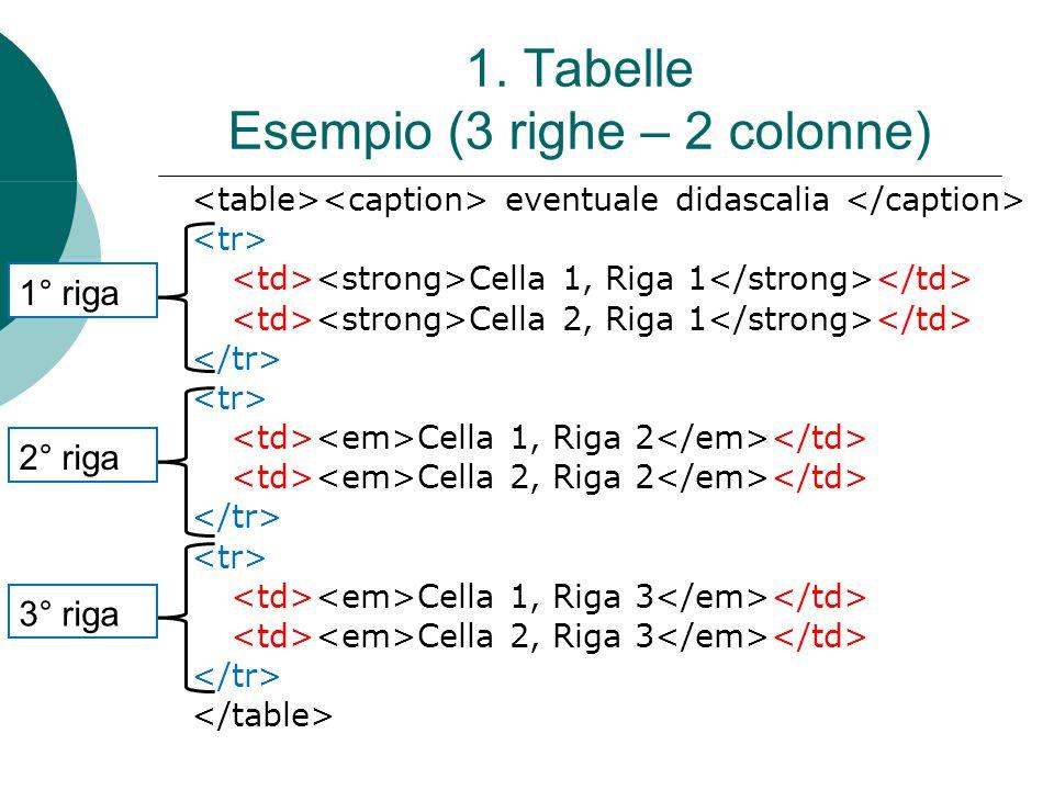 1. Tabelle Esempio (3 righe – 2 colonne)