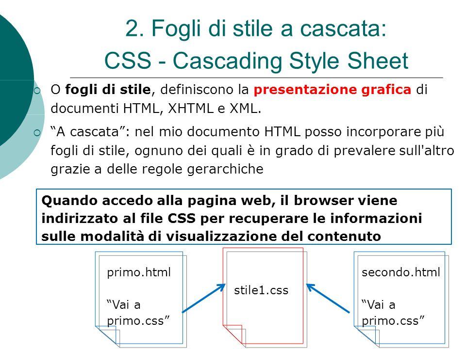 2. Fogli di stile a cascata: CSS - Cascading Style Sheet