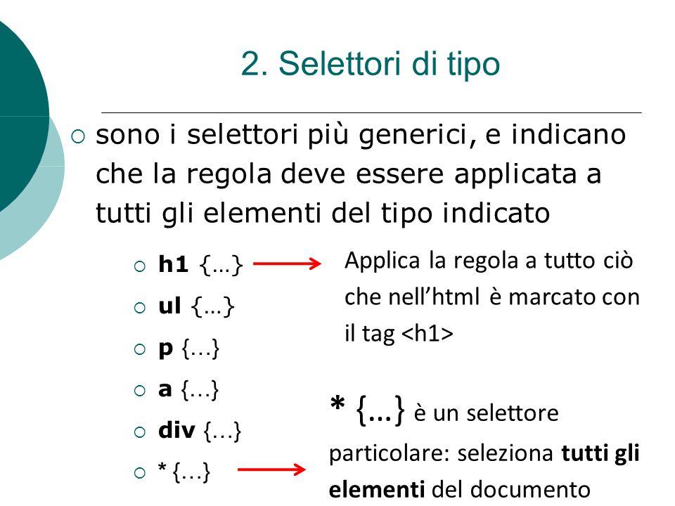 2. Selettori di tipo sono i selettori più generici, e indicano che la regola deve essere applicata a tutti gli elementi del tipo indicato.
