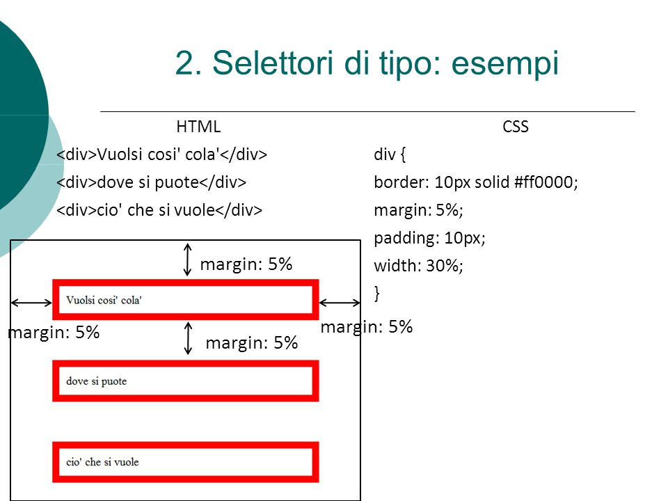 2. Selettori di tipo: esempi