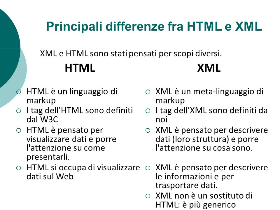 Principali differenze fra HTML e XML