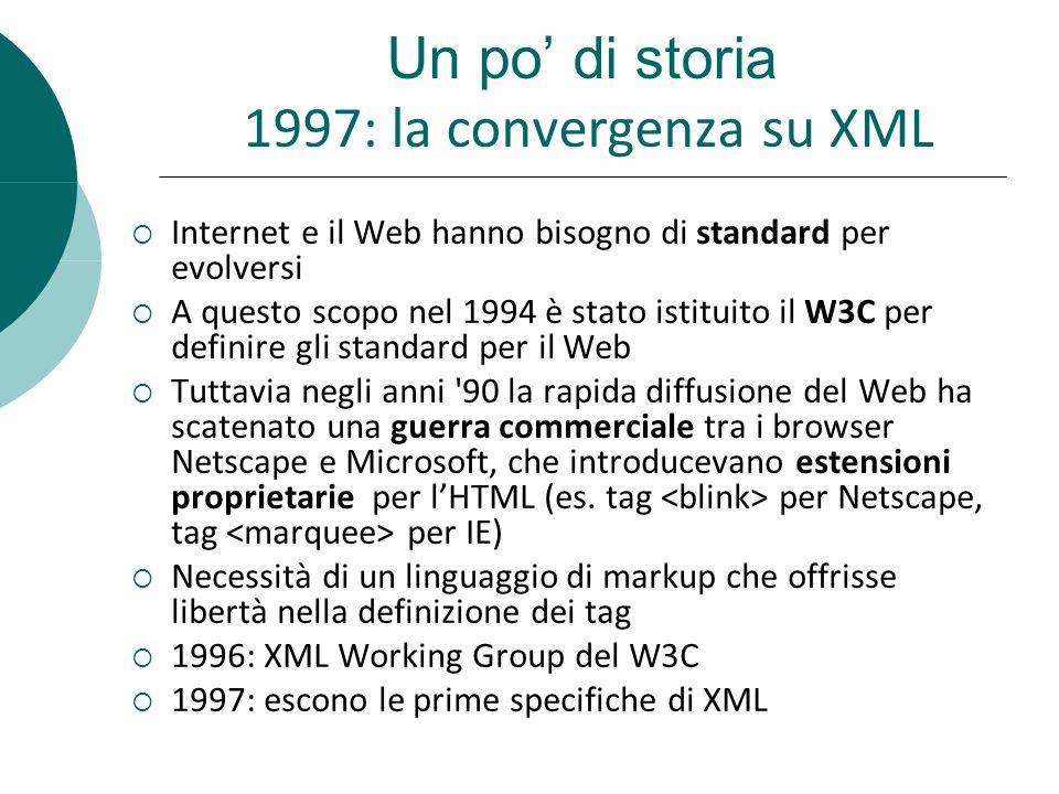 Un po' di storia 1997: la convergenza su XML