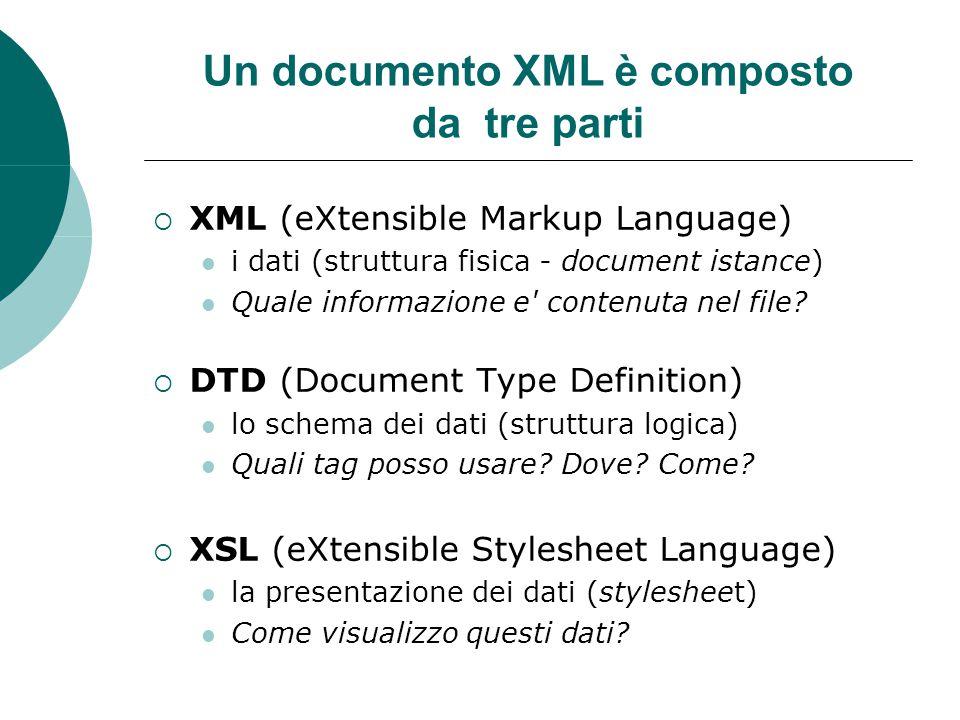 Un documento XML è composto da tre parti