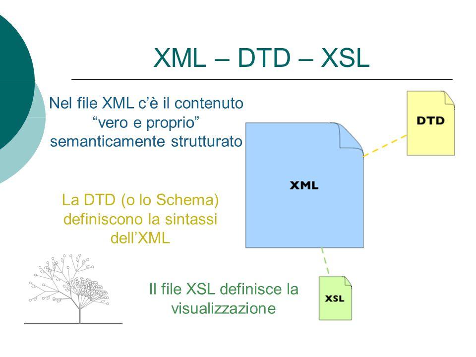XML – DTD – XSL Nel file XML c'è il contenuto vero e proprio semanticamente strutturato. La DTD (o lo Schema) definiscono la sintassi dell'XML.