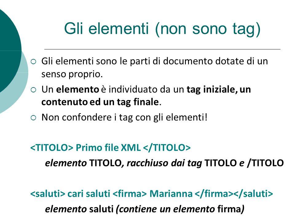 Gli elementi (non sono tag)