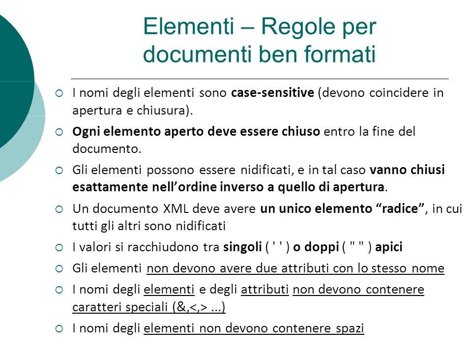 Elementi – Regole per documenti ben formati