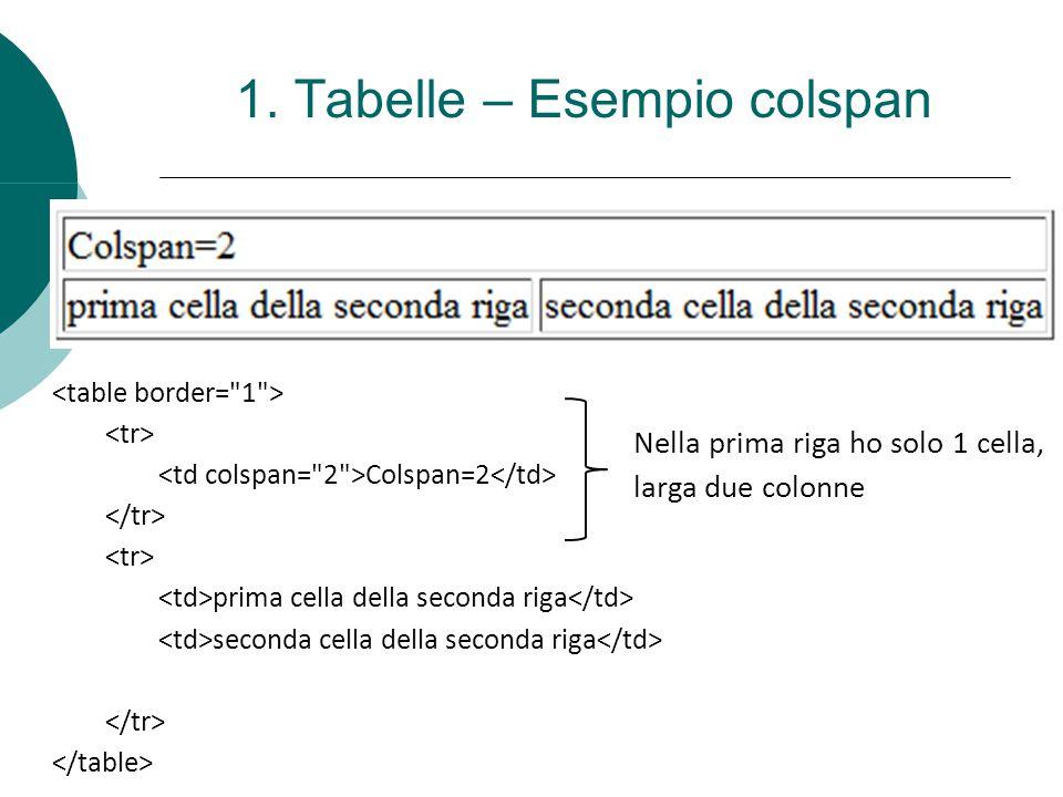 1. Tabelle – Esempio colspan