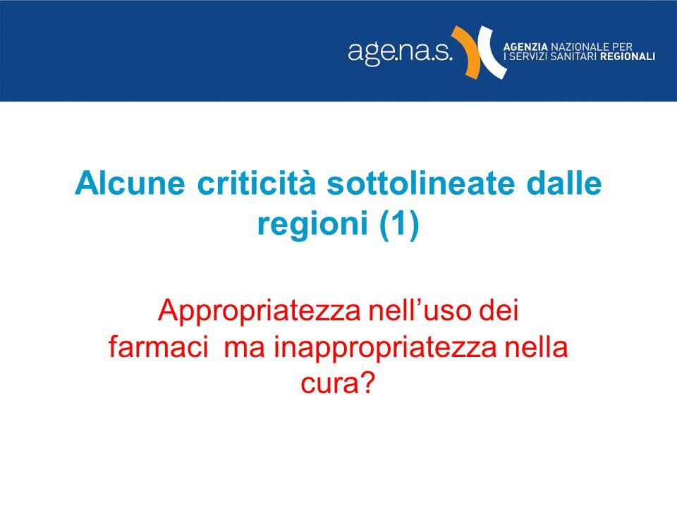 Alcune criticità sottolineate dalle regioni (1)