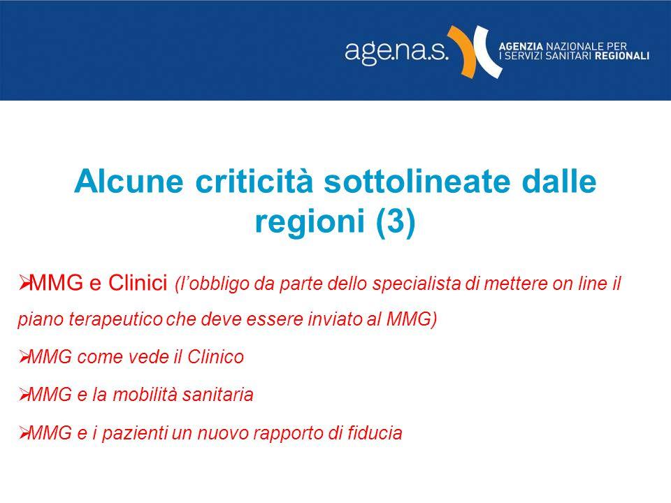 Alcune criticità sottolineate dalle regioni (3)