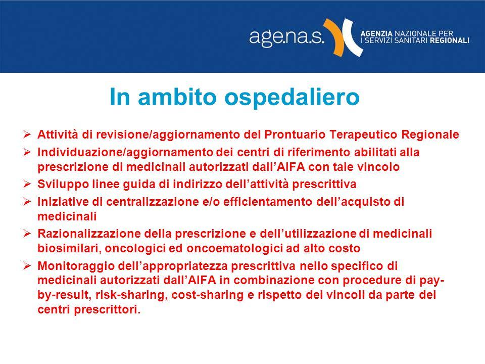 In ambito ospedaliero Attività di revisione/aggiornamento del Prontuario Terapeutico Regionale.