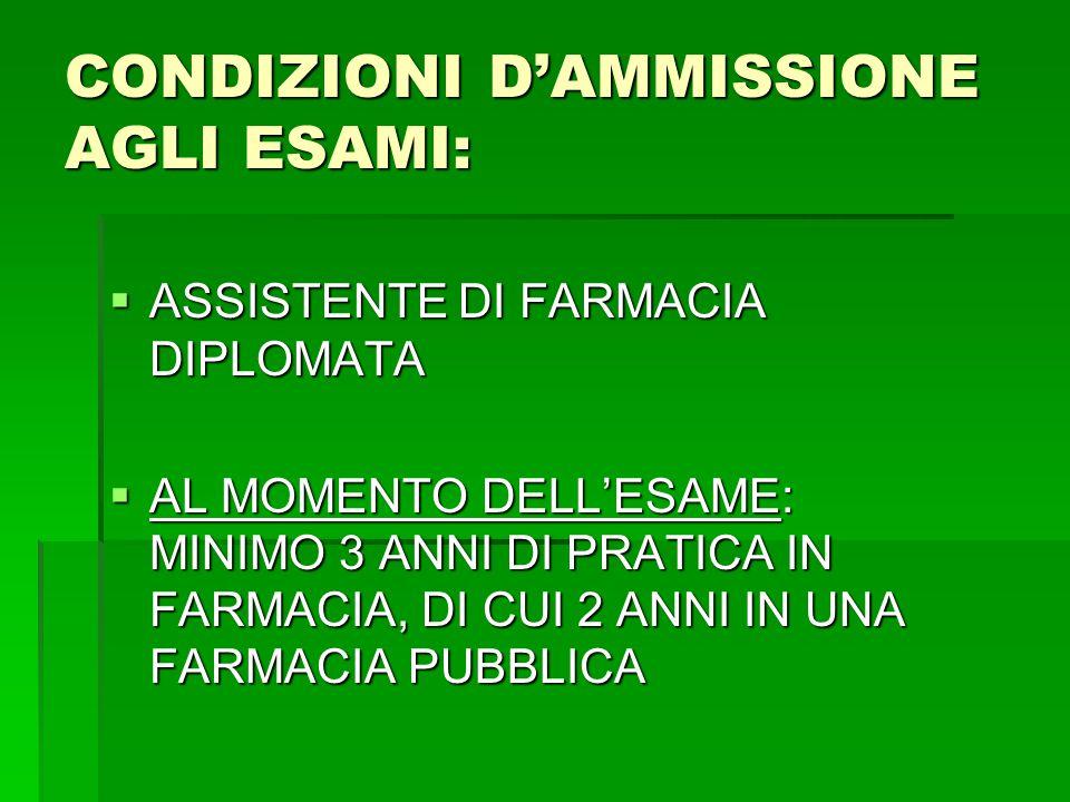 CONDIZIONI D'AMMISSIONE AGLI ESAMI: