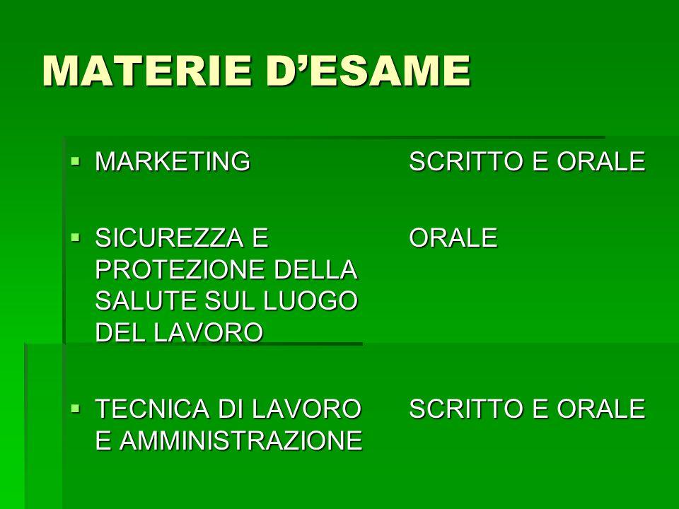 MATERIE D'ESAME MARKETING SCRITTO E ORALE