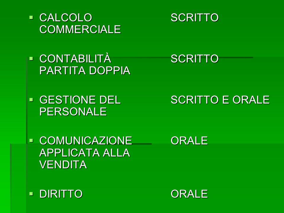 CALCOLO SCRITTO COMMERCIALE