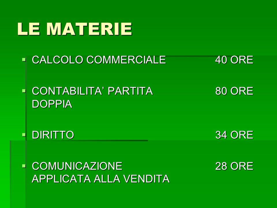 LE MATERIE CALCOLO COMMERCIALE 40 ORE