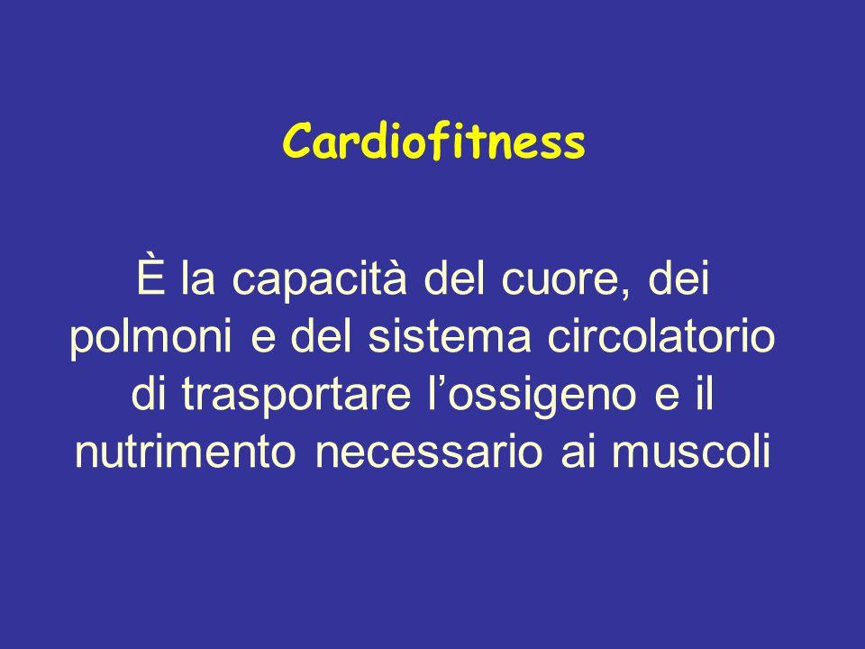 Cardiofitness È la capacità del cuore, dei polmoni e del sistema circolatorio di trasportare l'ossigeno e il nutrimento necessario ai muscoli.