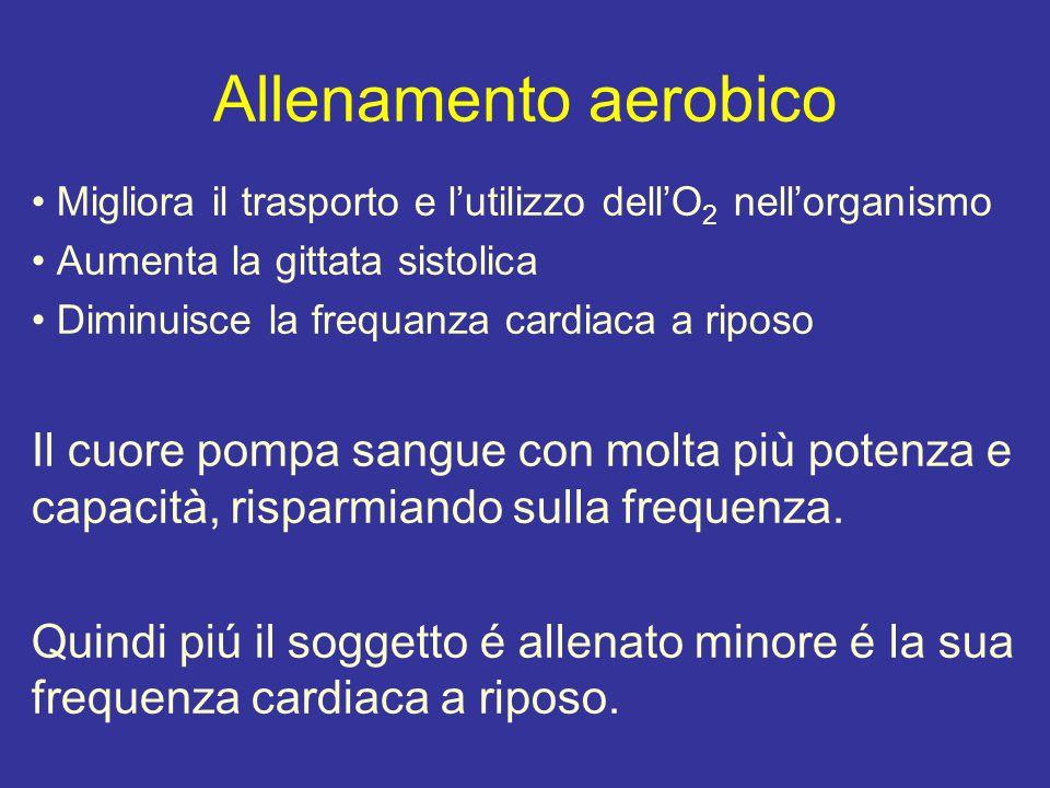 Allenamento aerobico Migliora il trasporto e l'utilizzo dell'O2 nell'organismo. Aumenta la gittata sistolica.