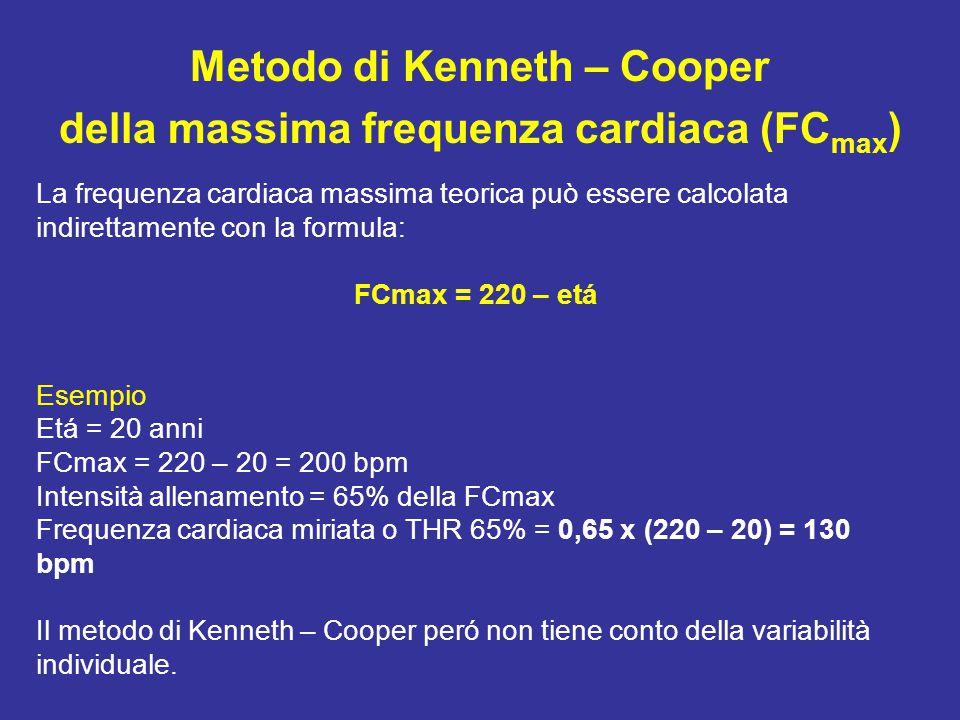 Metodo di Kenneth – Cooper della massima frequenza cardiaca (FCmax)