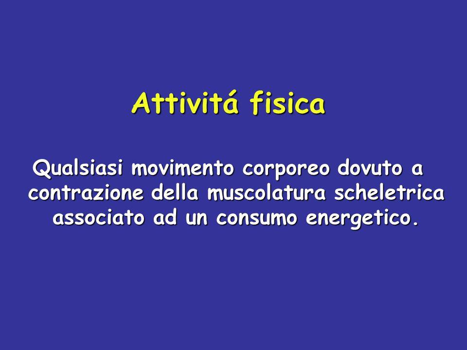 Attivitá fisica Qualsiasi movimento corporeo dovuto a contrazione della muscolatura scheletrica associato ad un consumo energetico.