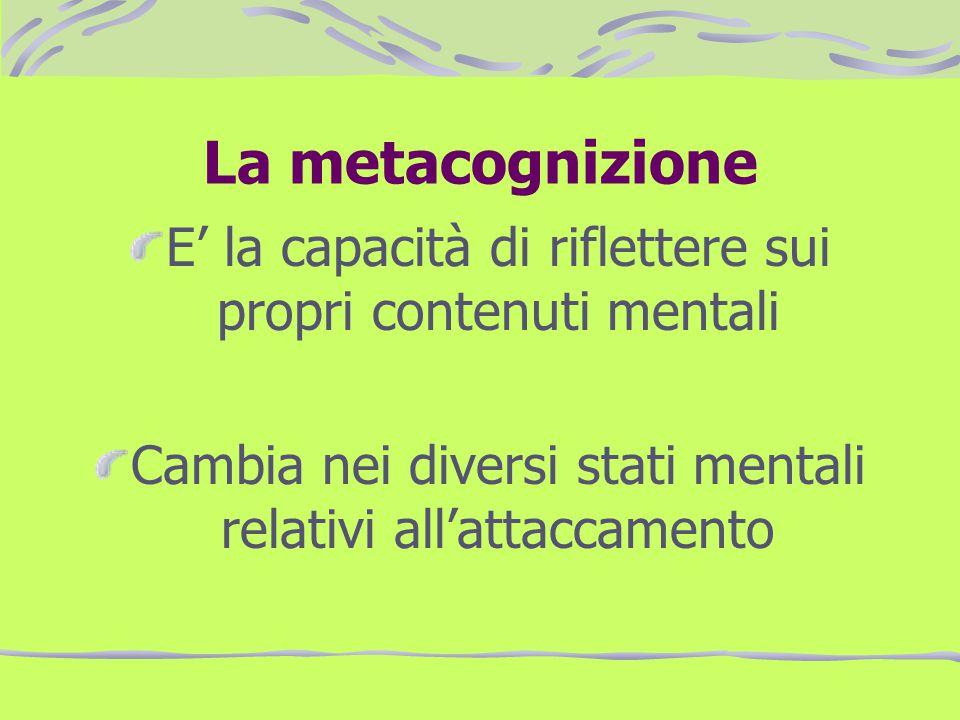 La metacognizione E' la capacità di riflettere sui propri contenuti mentali.