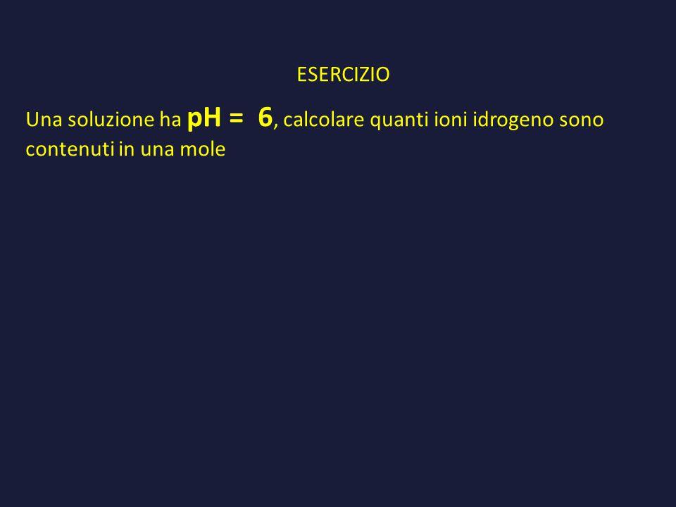 ESERCIZIO Una soluzione ha pH = 6, calcolare quanti ioni idrogeno sono contenuti in una mole