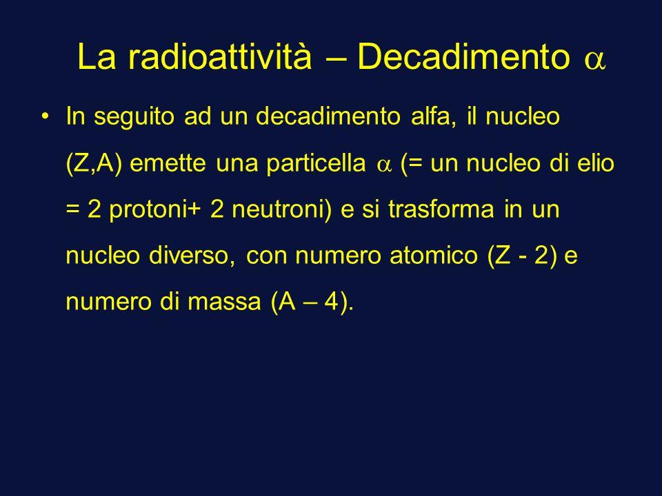 La radioattività – Decadimento a