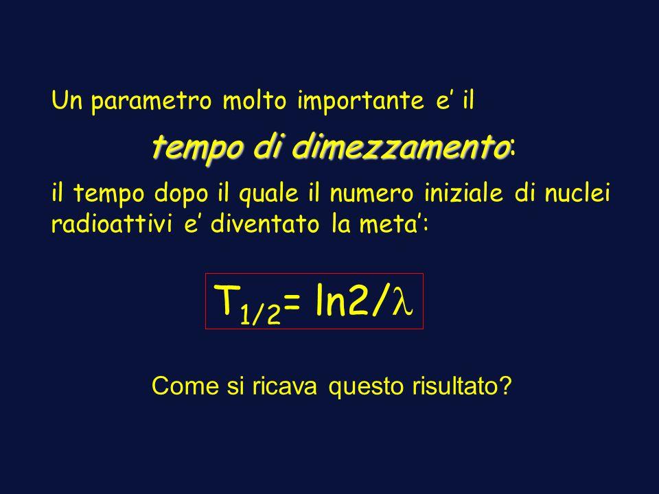 T1/2= ln2/l tempo di dimezzamento: Un parametro molto importante e' il
