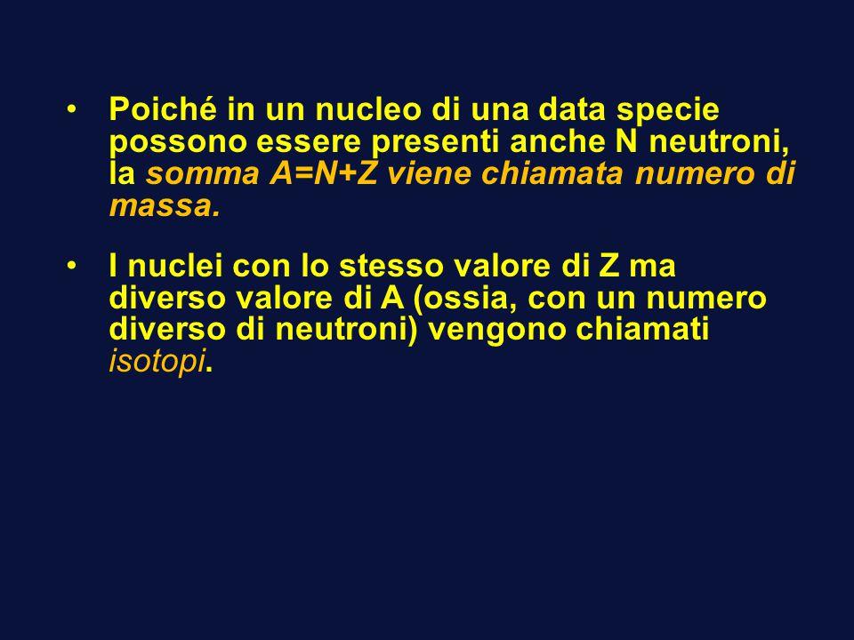 Poiché in un nucleo di una data specie possono essere presenti anche N neutroni, la somma A=N+Z viene chiamata numero di massa.