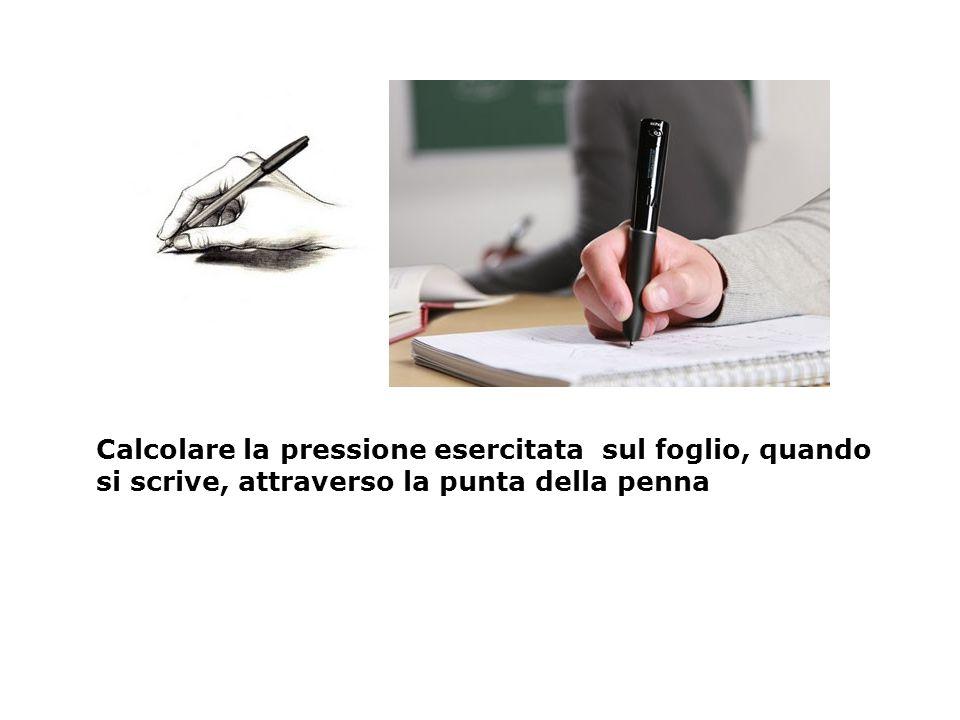 Calcolare la pressione esercitata sul foglio, quando si scrive, attraverso la punta della penna