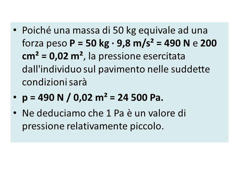 Poiché una massa di 50 kg equivale ad una forza peso P = 50 kg · 9,8 m/s² = 490 N e 200 cm² = 0,02 m², la pressione esercitata dall individuo sul pavimento nelle suddette condizioni sarà