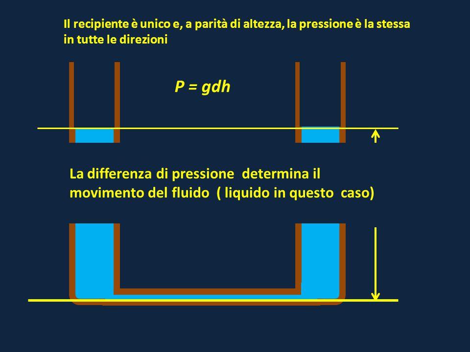 Il recipiente è unico e, a parità di altezza, la pressione è la stessa in tutte le direzioni