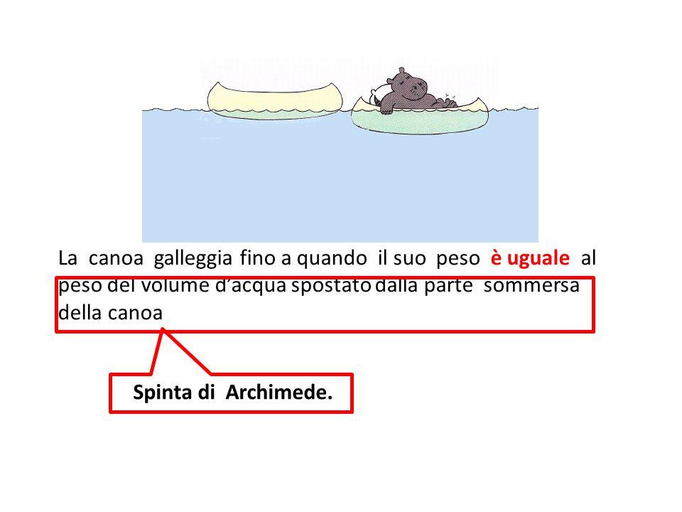 La canoa galleggia fino a quando il suo peso è uguale al peso del volume d'acqua spostato dalla parte sommersa della canoa