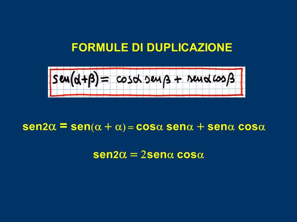 FORMULE DI DUPLICAZIONE sen2a = sen(a + a) = cosa sena + sena cosa